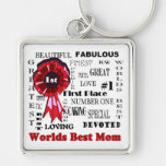 Inspiring Word Collage Worlds Best Mum Key Ring Silver-Colored Square Key Ring