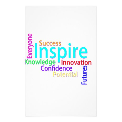 Inspiring Words Collage Customized Stationery