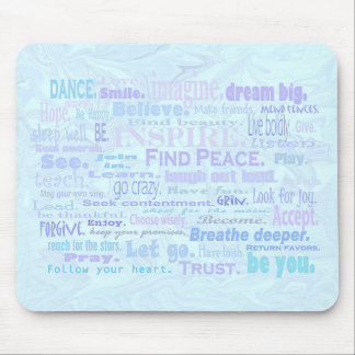 Inspiring words in pale blue shades mouse mat