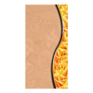 Inspiring Yellow roses and Orange Floral Photo Card Template