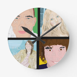 Instagram 4 Photo Personalized Round Wall Clock