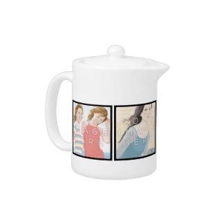 Instagram 4 Photo Personalized Teapot