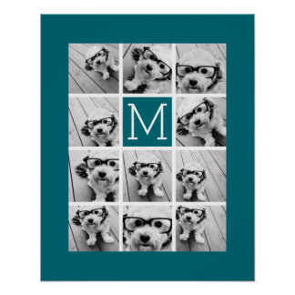 Instagram Collage with Custom Monogram Blue Poster