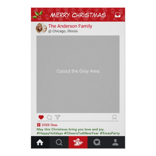 Instagram Frame Christmas Party Photo Booth Poster