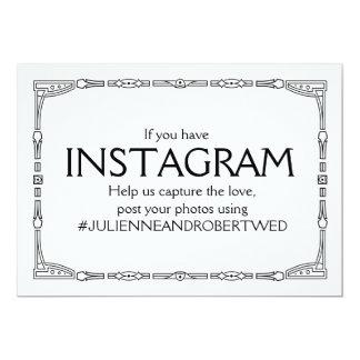 """Instagram Hashtag"" Art Deco Style Wedding Sign Card"