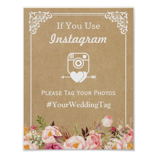 Instagram Hashtag Wedding Sign | Floral Kraft