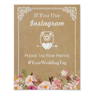 Instagram Hashtag Wedding Sign | Floral Kraft Poster