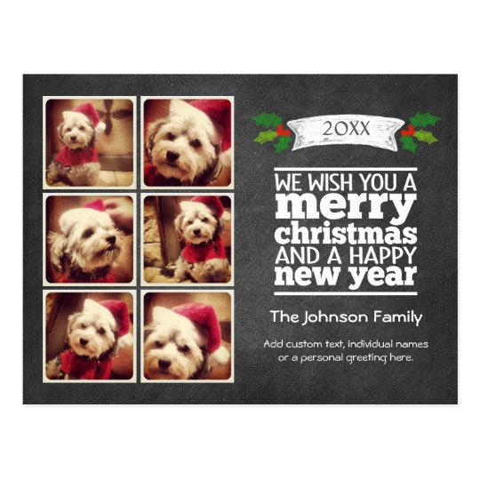 Instagram Holiday Chalkboard Photo Card Postcard