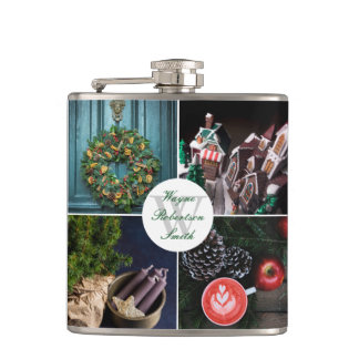 Instagram Hygge Christmas Personalized Photo Grid Hip Flask