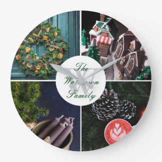Instagram Hygge Christmas Personalized Photo Grid Large Clock