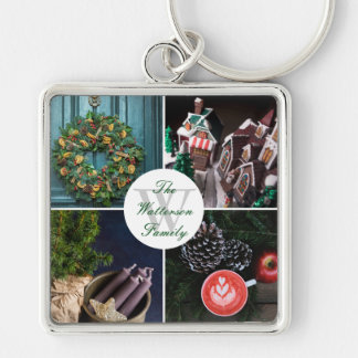 Instagram Hygge Christmas Personalized Photo Grid Silver-Colored Square Key Ring