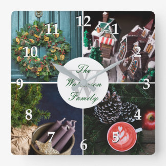 Instagram Hygge Christmas Personalized Photo Grid Square Wall Clock