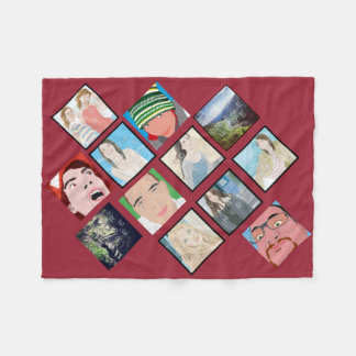 Instagram Mosaic Photo Red Custom Fleece Blanket