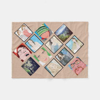 Instagram Mosaic Photo Tan Custom Fleece Blanket