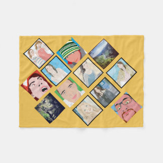 Instagram Mosaic Photo Yellow Fleece Blanket