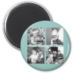 Instagram Photo Collage 4 pictures - blue stripes 6 Cm Round Magnet
