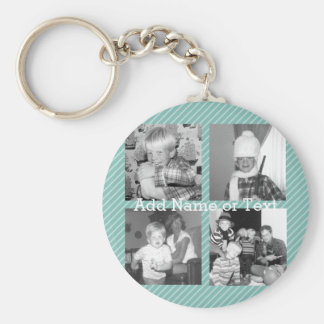 Instagram Photo Collage 4 pictures - blue stripes Basic Round Button Key Ring