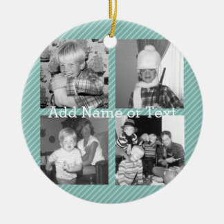 Instagram Photo Collage 4 pictures - blue stripes Christmas Ornament