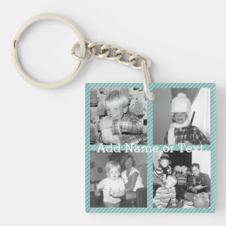 Instagram Photo Collage 4 pictures - blue stripes Double-Sided Square Acrylic Key Ring