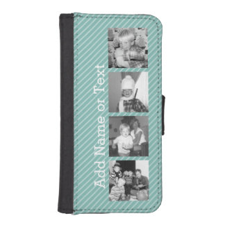 Instagram Photo Collage 4 pictures - blue stripes iPhone SE/5/5s Wallet Case