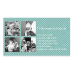 Instagram Photo Collage 4 pictures - blue stripes Pack Of Standard Business Cards