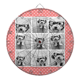 Instagram Photo Collage and Sweet Coral Polka Dots Dartboard