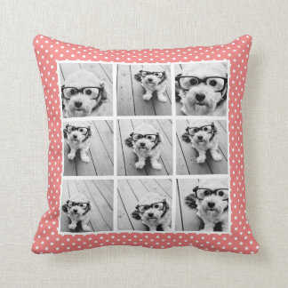 Instagram Photo Collage and Sweet Coral Polka Dots Throw Pillow