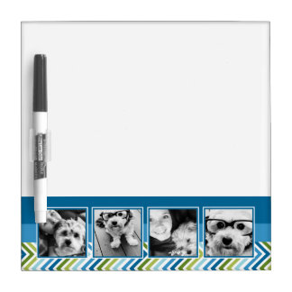 Instagram Photo Collage Colorful Chevrons Dry Erase Board