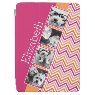 Instagram Photo Collage Hot Pink Orange Chevrons iPad Air Cover