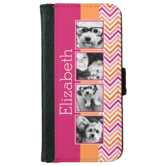 Instagram Photo Collage Hot Pink Orange Chevrons iPhone 6 Wallet Case