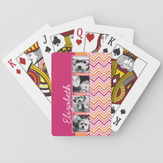 Instagram Photo Collage Hot Pink Orange Chevrons Playing Cards