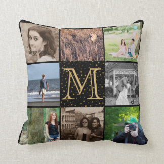 Instagram Photo Collage | Monogram Black Gold Dots Cushion