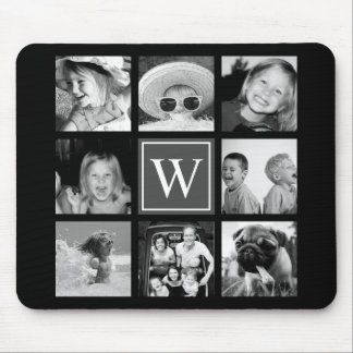 Instagram Photo Collage Monogram Black & White Mouse Mat
