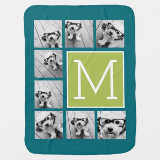 Instagram Photo Collage Monogram - Blue and Lime Baby Blanket