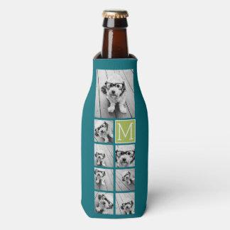 Instagram Photo Collage Monogram - Blue and Lime Bottle Cooler