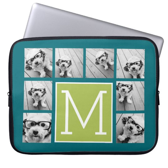 Instagram Photo Collage Monogram - Blue and Lime