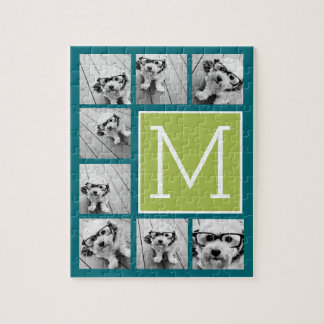 Instagram Photo Collage Monogram - Blue and Lime Puzzle