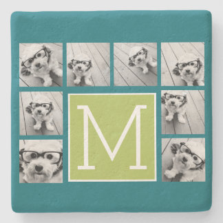 Instagram Photo Collage Monogram - Blue and Lime Stone Coaster