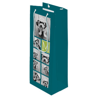 Instagram Photo Collage Monogram - Blue and Lime Wine Gift Bag