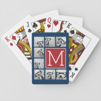 Instagram Photo Collage Monogram - Blue and Red Playing Cards