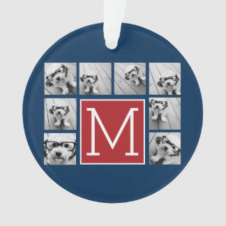 Instagram Photo Collage Monograms - Blue and Red Ornament