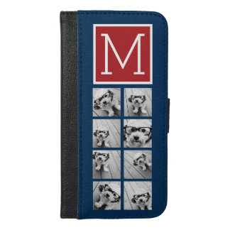 Instagram Photo Collage Monograms - Red Navy iPhone 6/6s Plus Wallet Case