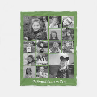 Instagram Photo Collage - Up to 14 photos Green Fleece Blanket