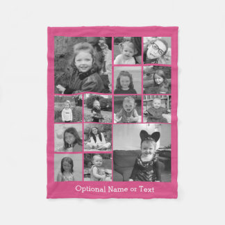 Instagram Photo Collage - Up to 14 photos Pink Fleece Blanket