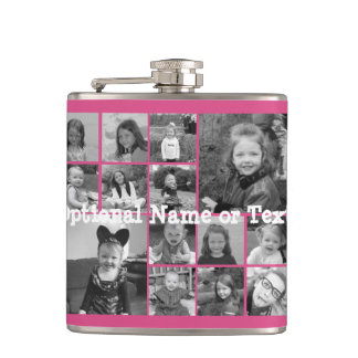 Instagram Photo Collage - Up to 14 photos Pink Hip Flask