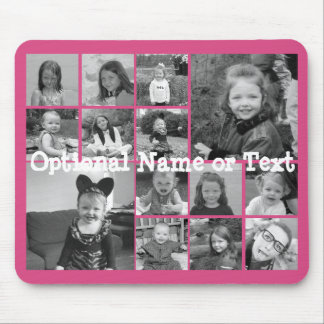 Instagram Photo Collage - Up to 14 photos Pink Mouse Mat
