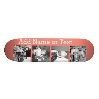 Instagram Photo Collage with 4 pictures - coral Custom Skateboard
