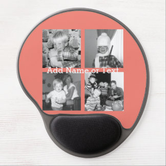 Instagram Photo Collage with 4 pictures - coral Gel Mouse Pad