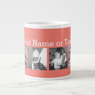 Instagram Photo Collage with 4 pictures - coral Large Coffee Mug