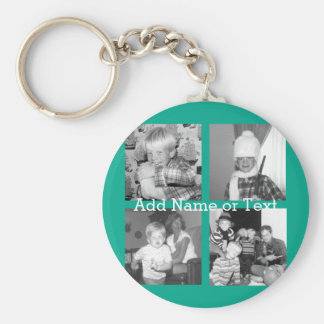 Instagram Photo Collage with 4 pictures - emerald Basic Round Button Key Ring